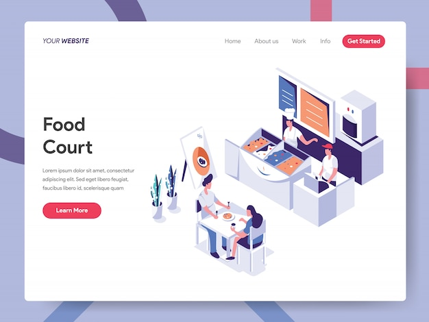 Food court banner konzept für website-seite Premium Vektoren