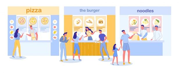 Food court in mall restaurants und cafés innenraum. Premium Vektoren