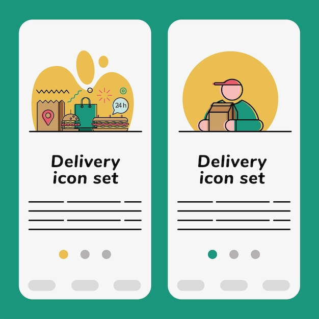 Food delivery icon set banner Premium Vektoren