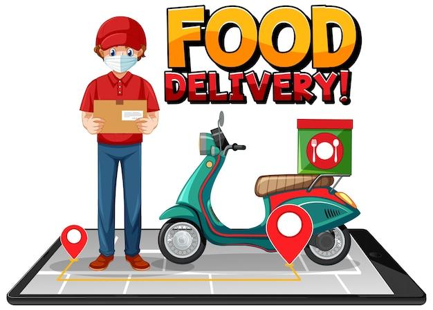 Food delivery logo mit fahrradmann oder kurier Kostenlosen Vektoren