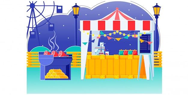 Food fair zelt mit ammer auf dem dach am karneval Premium Vektoren