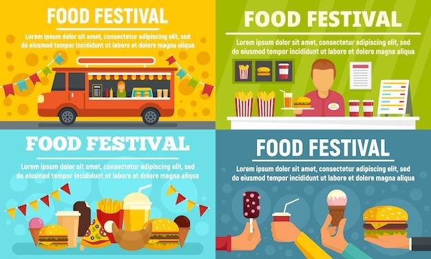 Food festival banner gesetzt Premium Vektoren