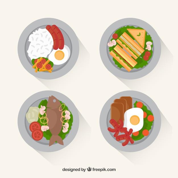 Food-geschirr-sammlung mit draufsicht Kostenlosen Vektoren