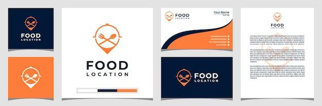 Food location logo design, mit dem konzept einer pin visitenkarte und briefkopf Premium Vektoren