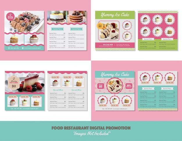 Food menu restaurant digital promotion Premium Vektoren