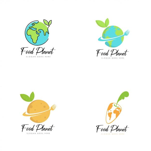 Food-planet-logo-vektor Premium Vektoren