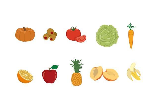 Food set illustrationen Premium Vektoren