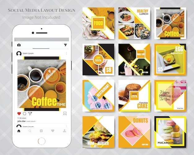 Food social media post-vorlage für restaurant Premium Vektoren