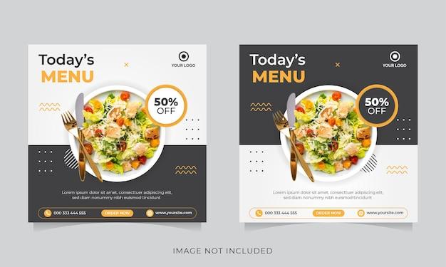 Food social media promotion und instagram banner post Premium Vektoren