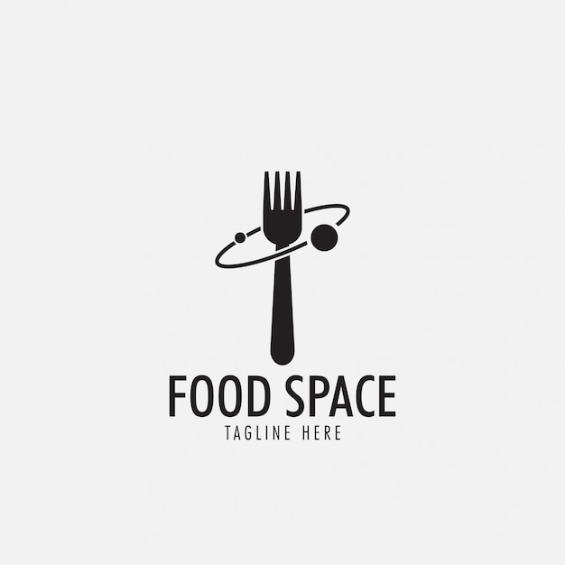 Food space-logo Premium Vektoren