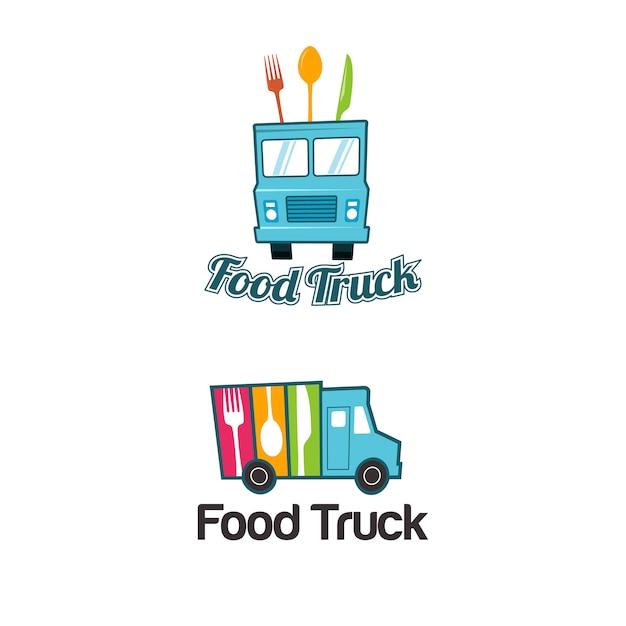 Food truck logo vorlage Premium Vektoren