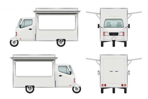 Food truck realistisch. offener lkw-fenster-verpflegungsservice 3d des schnellimbisslieferungsmotorradtransports s Premium Vektoren