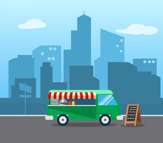 Food truck stehen Premium Vektoren