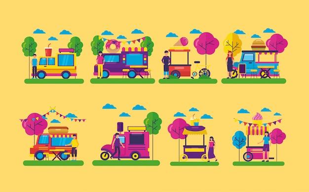 Food trucks festival flache bauform Kostenlosen Vektoren