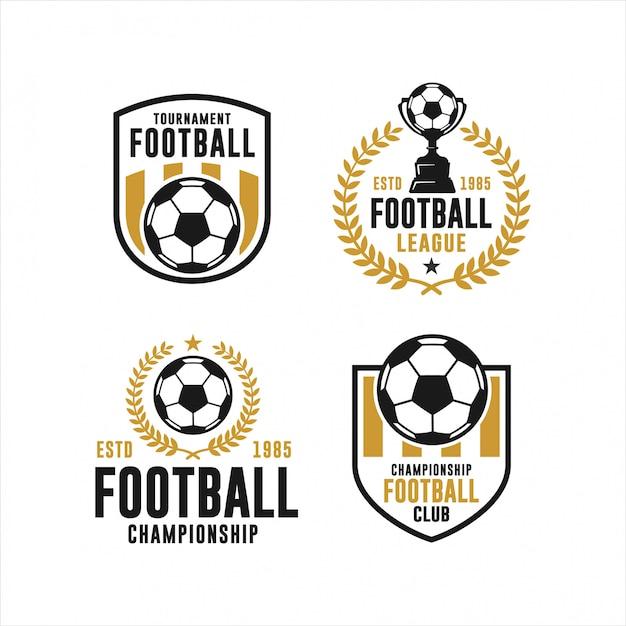 Football club turnier logo sammlung Premium Vektoren