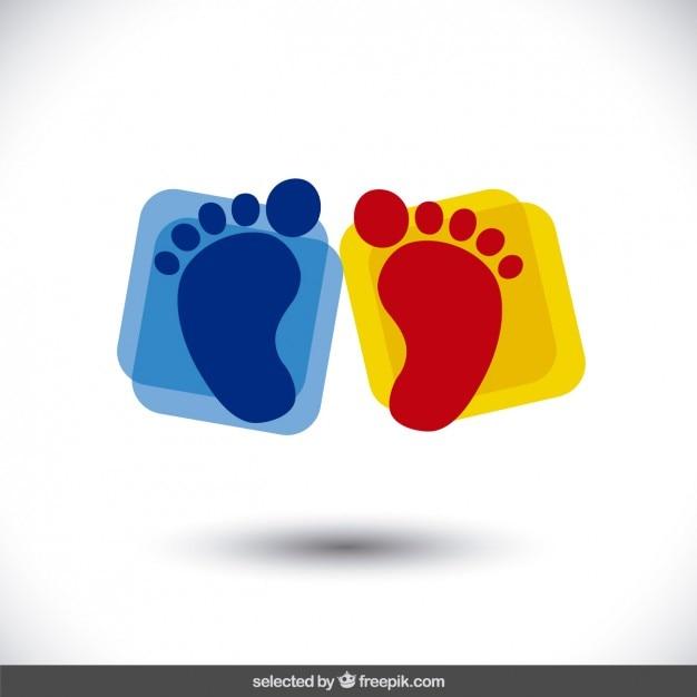Footprints über gerundet plätze Kostenlosen Vektoren