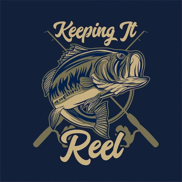 Forellenbarsch-fischen mit rod und typografie, die es bandspule hält Premium Vektoren