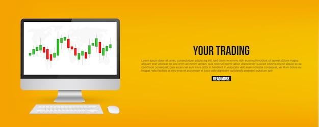 Forex trading diagramm signale verkaufen indikatoren banner Premium Vektoren