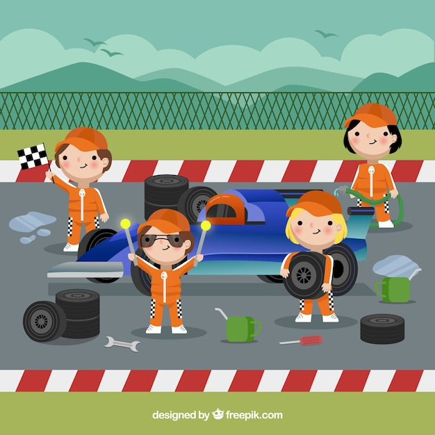 Formel-1-boxenstopp-arbeiter Kostenlosen Vektoren