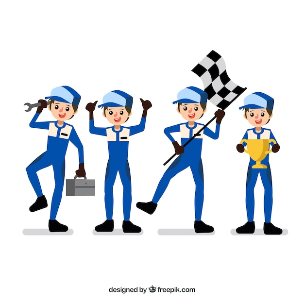 Formel 1 pilot character kollektion mit flachem design Kostenlosen Vektoren