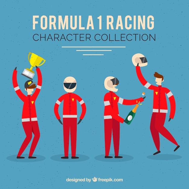 Formel-1-rennfigurensammlung mit flachem design Kostenlosen Vektoren