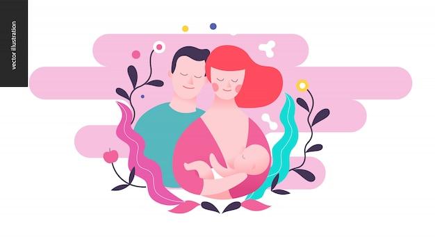 Fortpflanzung - eine fütternde frau, ein baby und ein mann Premium Vektoren