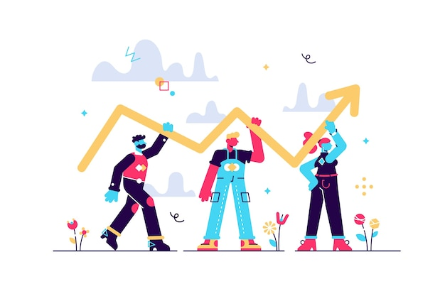 Fortschrittsentwicklung als erfolgsverbesserung und wachstum winziges personenkonzept. professionelle teamwork-szene mit erhöhtem und nach oben gerichtetem pfeil als gewinn-, umsatz- oder karriere-reichweite. Premium Vektoren