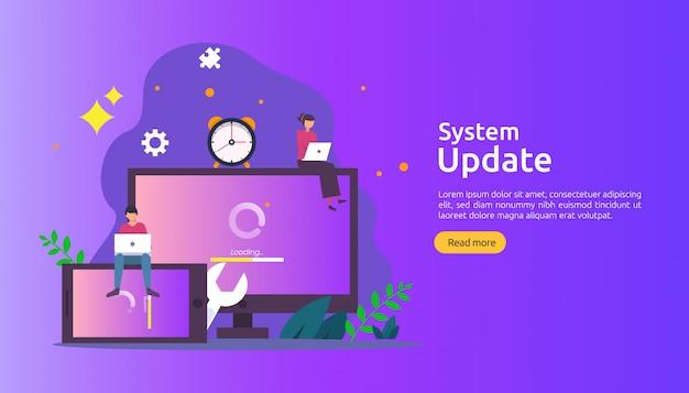 Fortschrittskonzept der aktualisierung des betriebssystems. daten synchronisieren prozess und installationsprogramm. Premium Vektoren