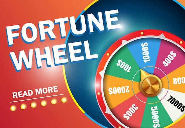Fortune rad las mehr beschriftung auf rotem hintergrund. casino-business-werbung Kostenlosen Vektoren