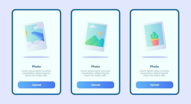 Foto für mobile apps vorlage banner seite benutzeroberfläche Premium Vektoren
