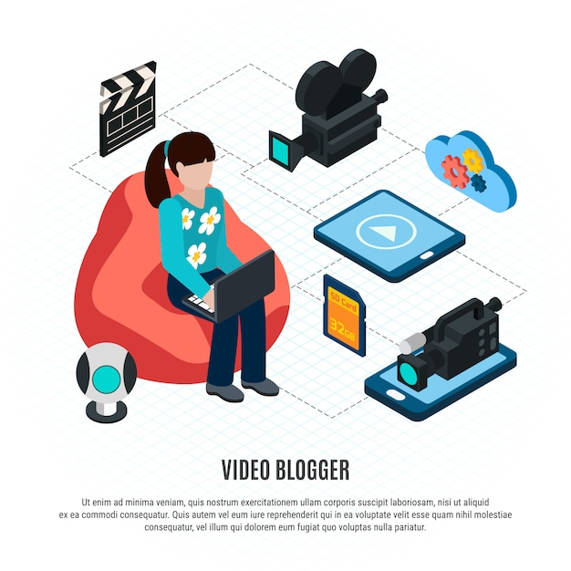 Foto video isometrisch mit bearbeitbarem text und flussdiagramm zusammensetzung mit video blogger und schießausrüstung vektor-illustration Kostenlosen Vektoren