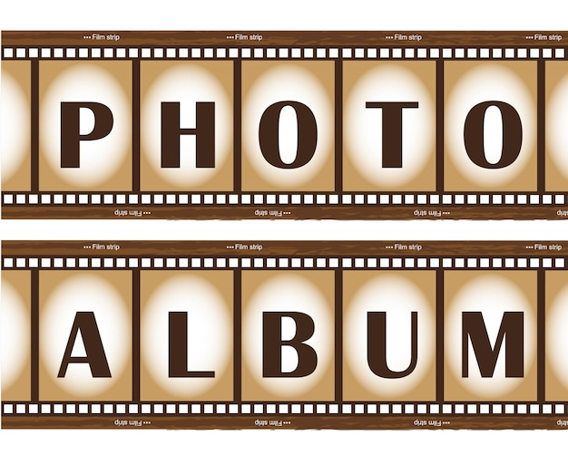 Fotoalbum mit zwei altes filmstreifen Premium Vektoren