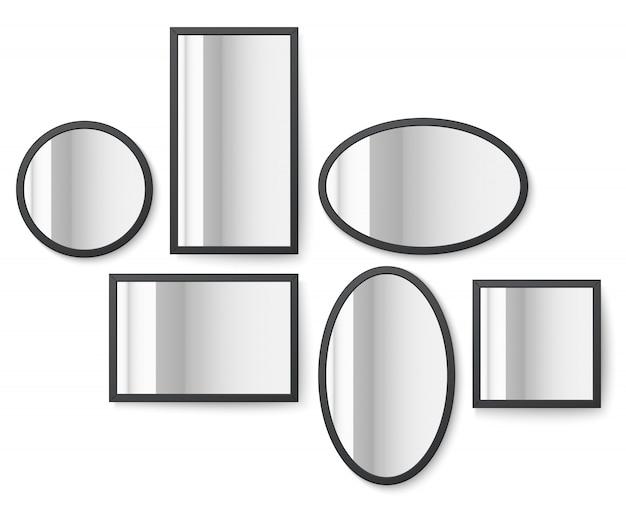 Fotobilder mit spiegelreflexionsoberfläche Premium Vektoren