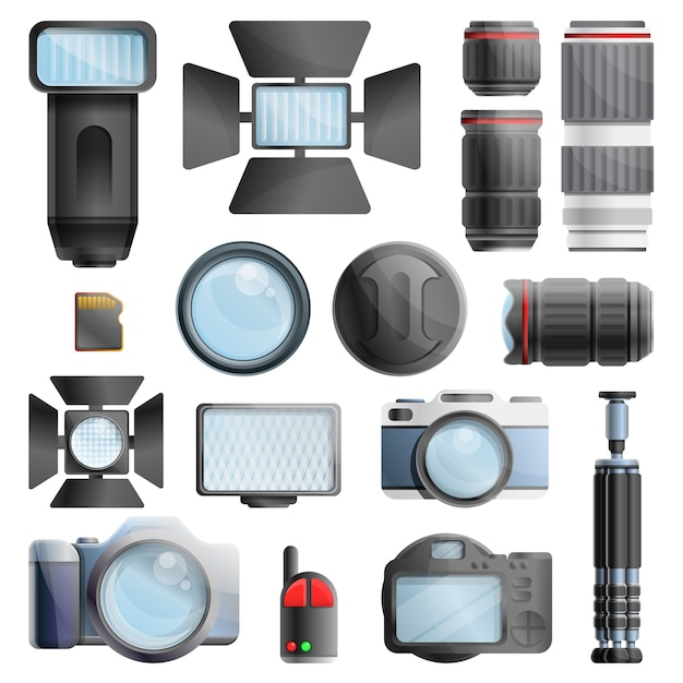 Fotograf ausrüstungssatz, cartoon-stil Premium Vektoren