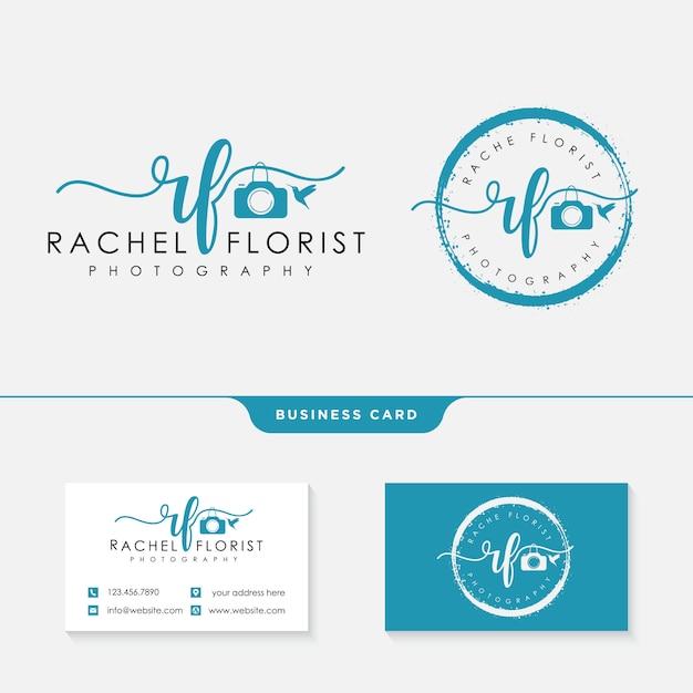 Fotograf logo vorlage und visitenkarte Premium Vektoren