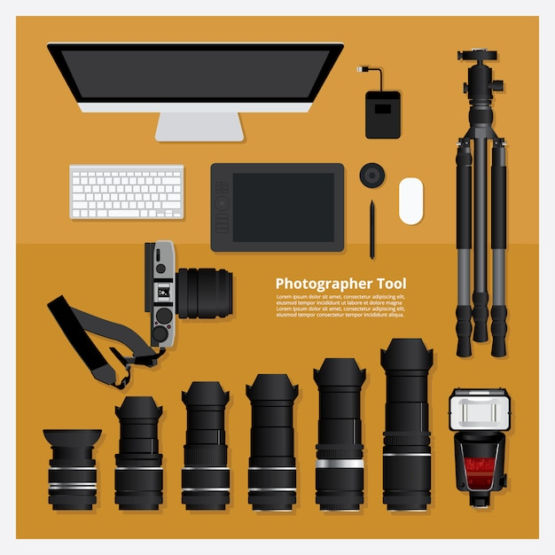 Fotograf werkzeug vektor illustratio Premium Vektoren