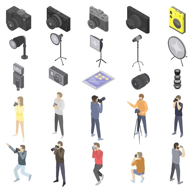 Fotografausrüstungsikonen eingestellt, isometrische art Premium Vektoren
