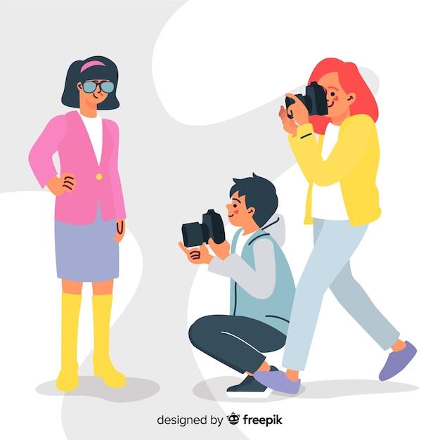 Fotografen, die flache designcharaktere bearbeiten Kostenlosen Vektoren