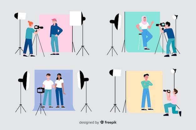 Fotografen, die in ihrer studiosammlung arbeiten Kostenlosen Vektoren