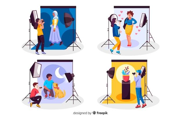 Fotografen, die in studios arbeiten, packen Kostenlosen Vektoren