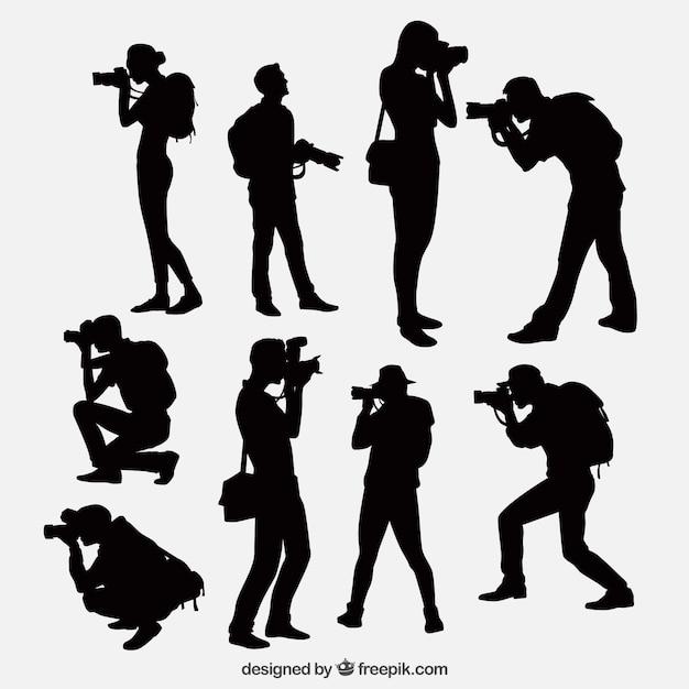 Fotografen mit Kamera Silhouetten Kostenlose Vektoren