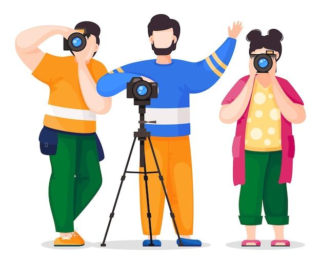 Fotografen oder paparazzi fotografieren, fotografieren mit reflexkamera, digitalkamera, vorderansicht. fotojournalisten Premium Vektoren