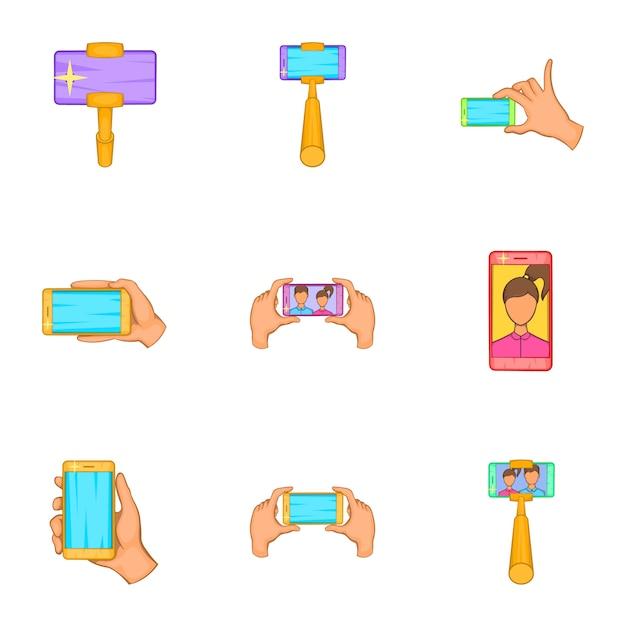 Fotografie auf den smartphoneikonen eingestellt, karikaturart Premium Vektoren