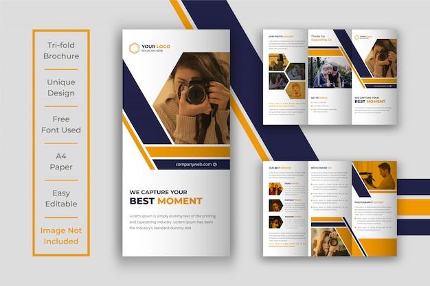 Fotografie dreifach gefaltete broschüre design-vorlage Premium Vektoren