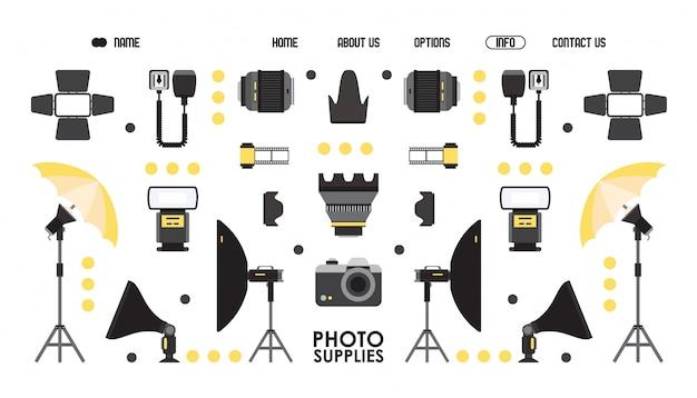 Fotografie liefern website-design, illustration. online-shop für professionelle fotoausrüstung, landingpage-vorlage. kamera und objektiv isolierte symbole im flachen stil Premium Vektoren