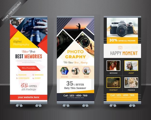 Fotografie rollen sie oben fahnendesign Premium Vektoren