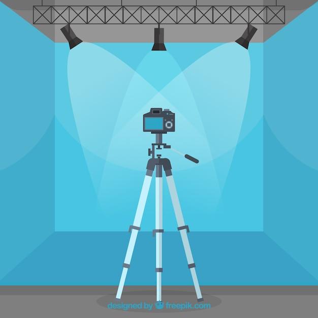 Fotografie-studio mit blauer farbe Kostenlosen Vektoren
