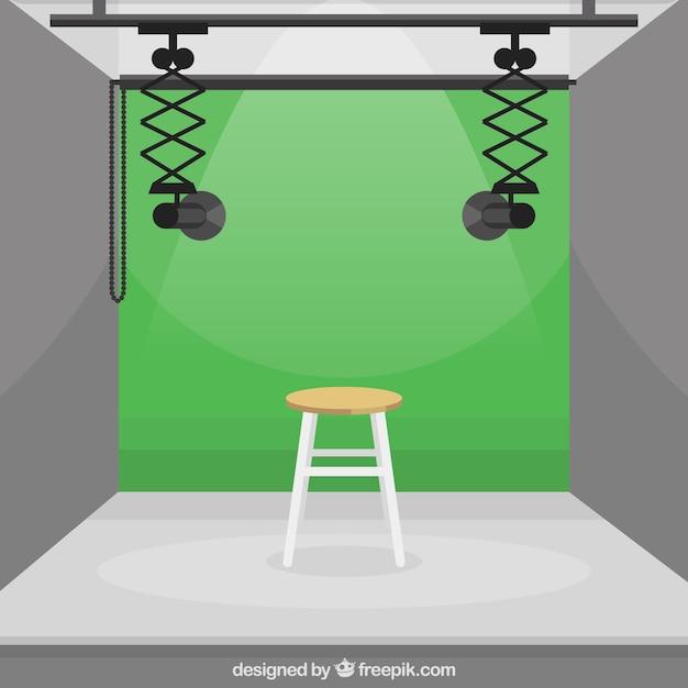 Fotografie-studio mit grüner farbe Kostenlosen Vektoren