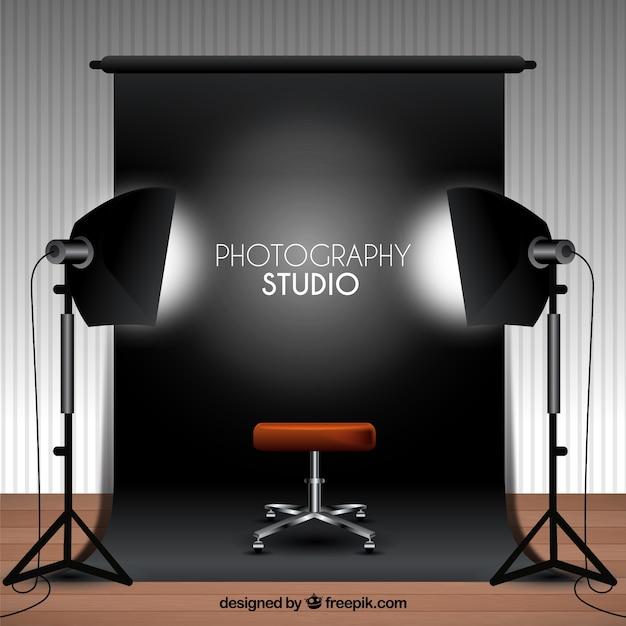 Fotografie-studio mit schwarzem hintergrund Kostenlosen Vektoren