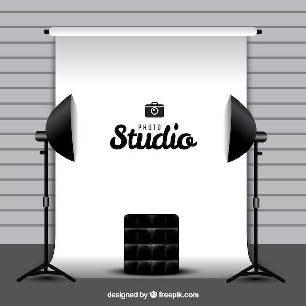 Fotografie studio mit weißem hintergrund Kostenlosen Vektoren